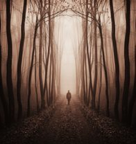 eerie surreal forest with man walking